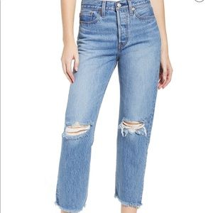 Levi Wedgie High Waist Ripped Cropped Straight Leg